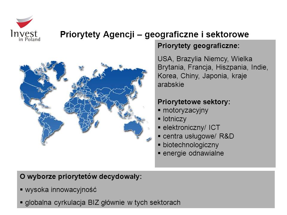 Priorytety Agencji – geograficzne i sektorowe