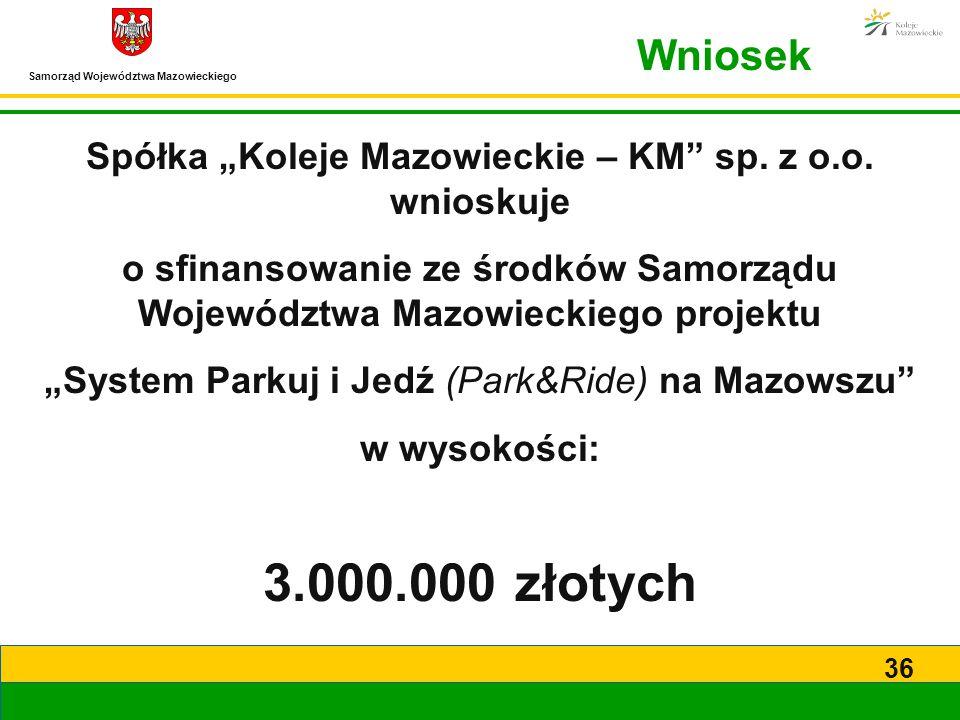 """Spółka """"Koleje Mazowieckie – KM sp. z o.o. wnioskuje"""