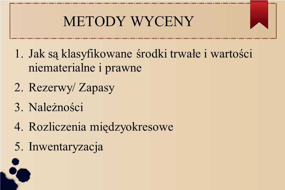 METODY WYCENY Jak są klasyfikowane środki trwałe i wartości niematerialne i prawne. Rezerwy/ Zapasy.
