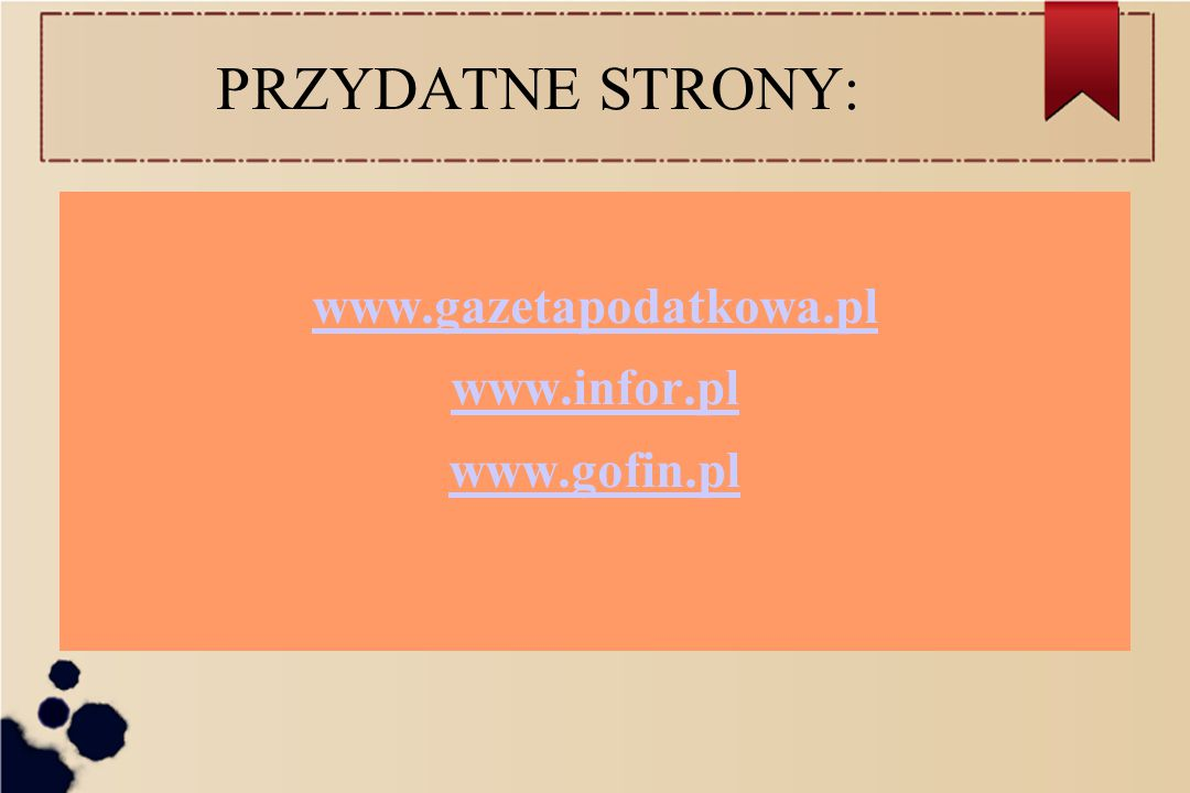 www.gazetapodatkowa.pl www.infor.pl www.gofin.pl