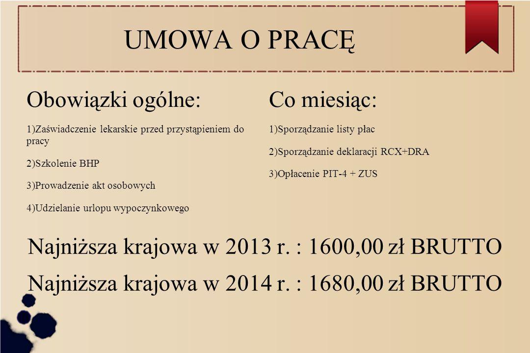 UMOWA O PRACĘ Obowiązki ogólne: Co miesiąc: