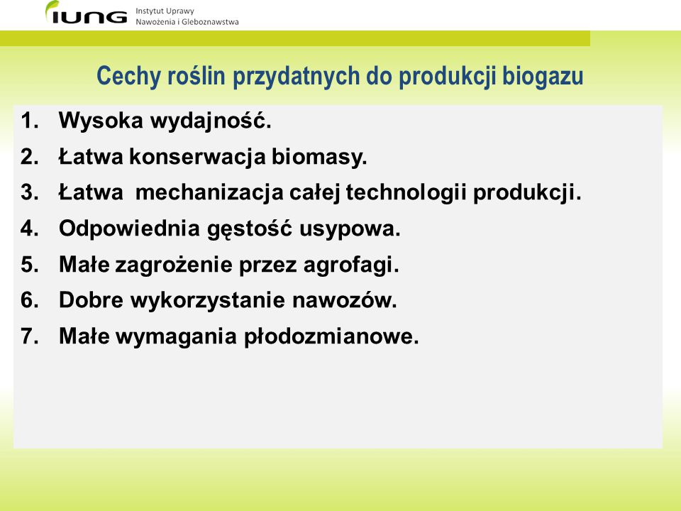 Cechy roślin przydatnych do produkcji biogazu