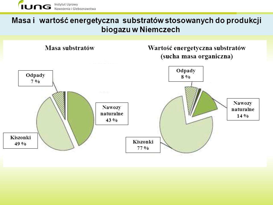 Masa i wartość energetyczna substratów stosowanych do produkcji
