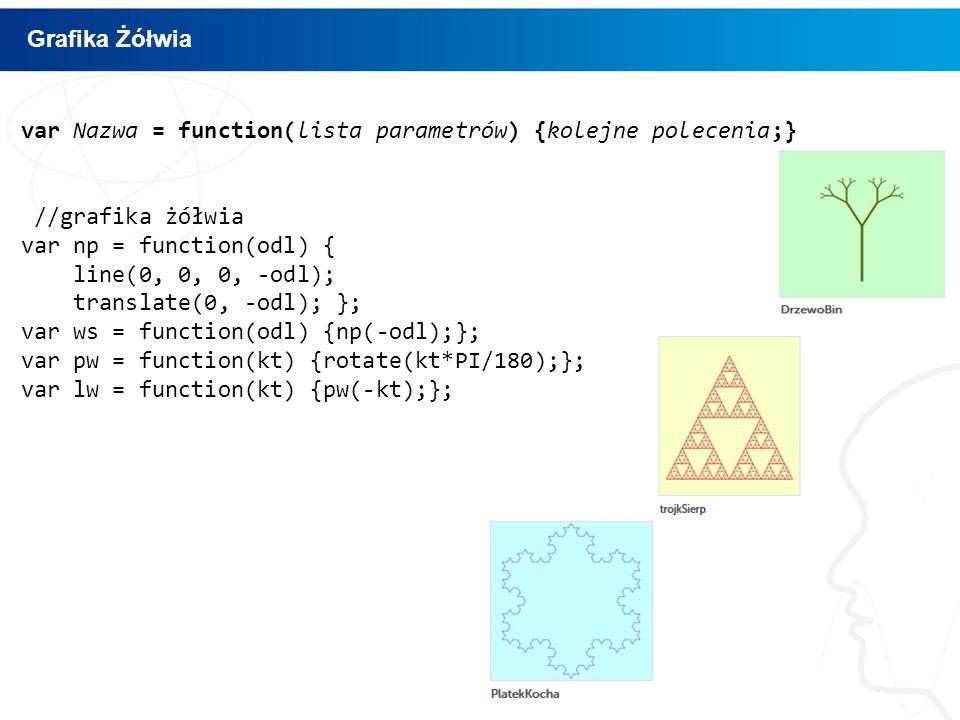 Grafika Żółwia var Nazwa = function(lista parametrów) {kolejne polecenia;} //grafika żółwia. var np = function(odl) {