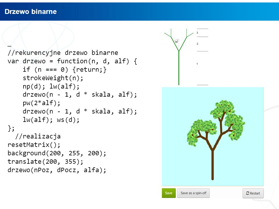 Drzewo binarne … //rekurencyjne drzewo binarne. var drzewo = function(n, d, alf) { if (n === 0) {return;}