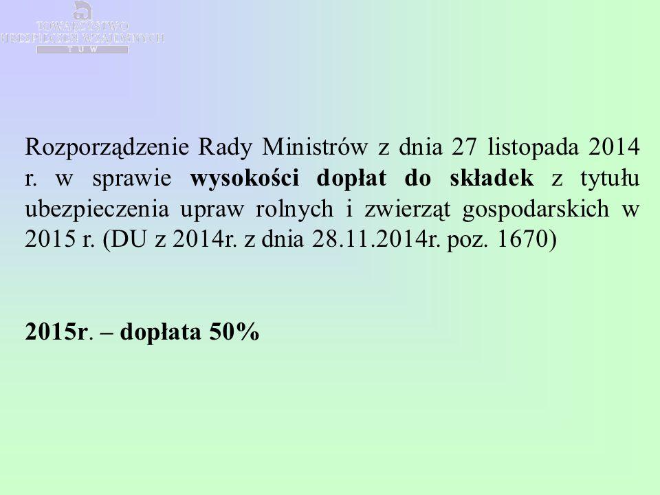 Rozporządzenie Rady Ministrów z dnia 27 listopada 2014 r