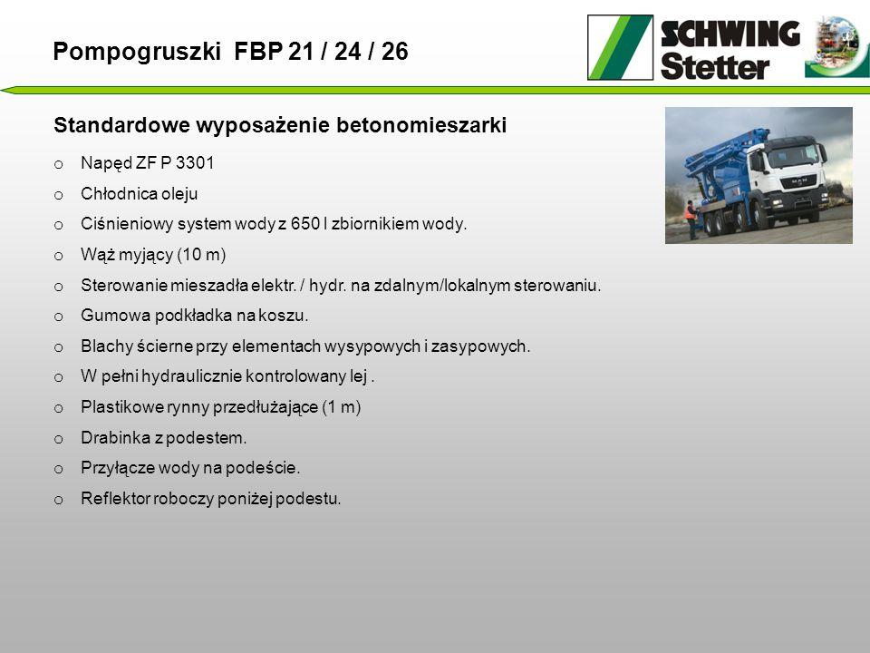 Pompogruszki FBP 21 / 24 / 26 Standardowe wyposażenie betonomieszarki