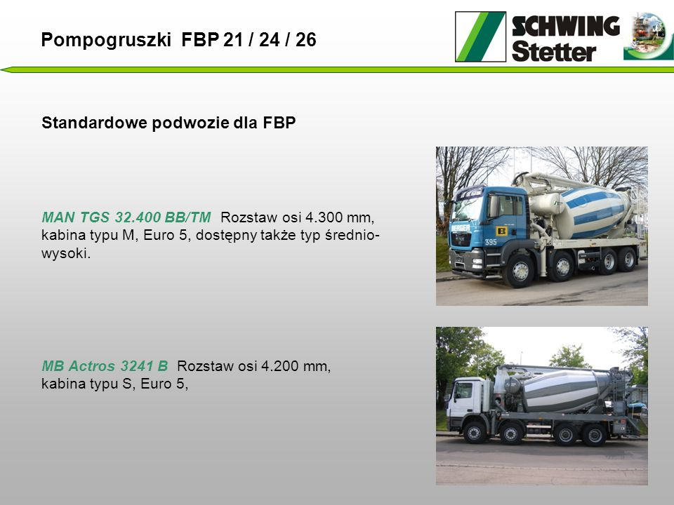 Pompogruszki FBP 21 / 24 / 26 Standardowe podwozie dla FBP