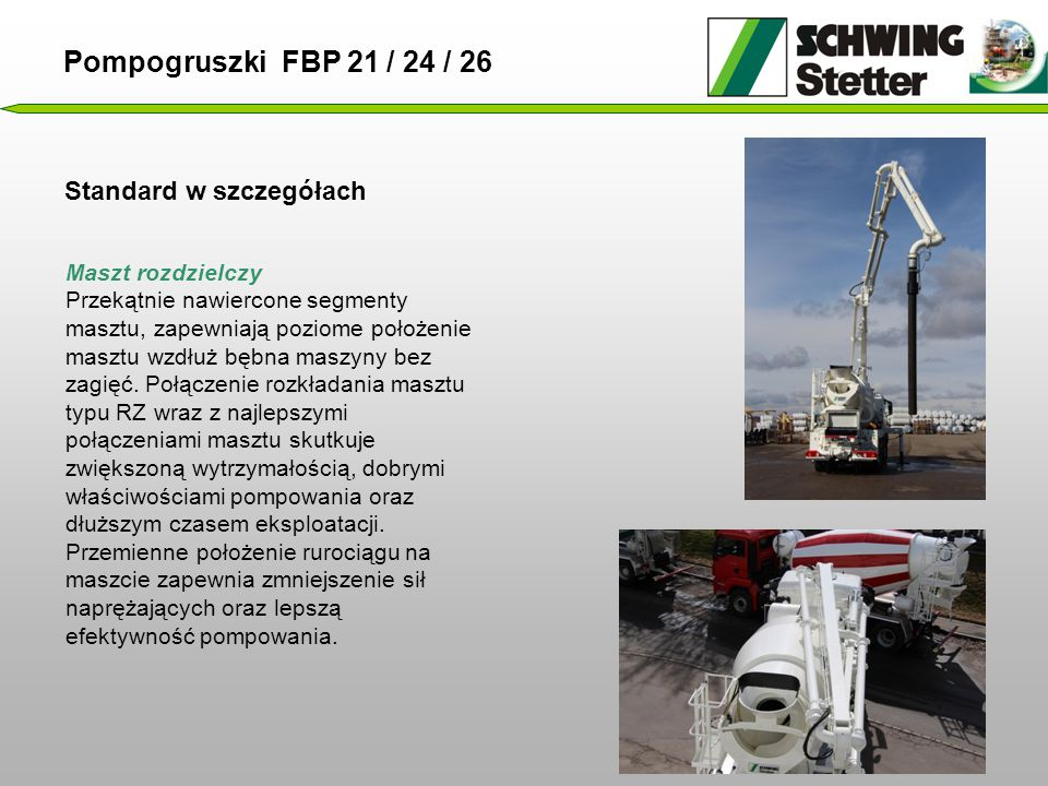 Pompogruszki FBP 21 / 24 / 26 Standard w szczegółach Maszt rozdzielczy