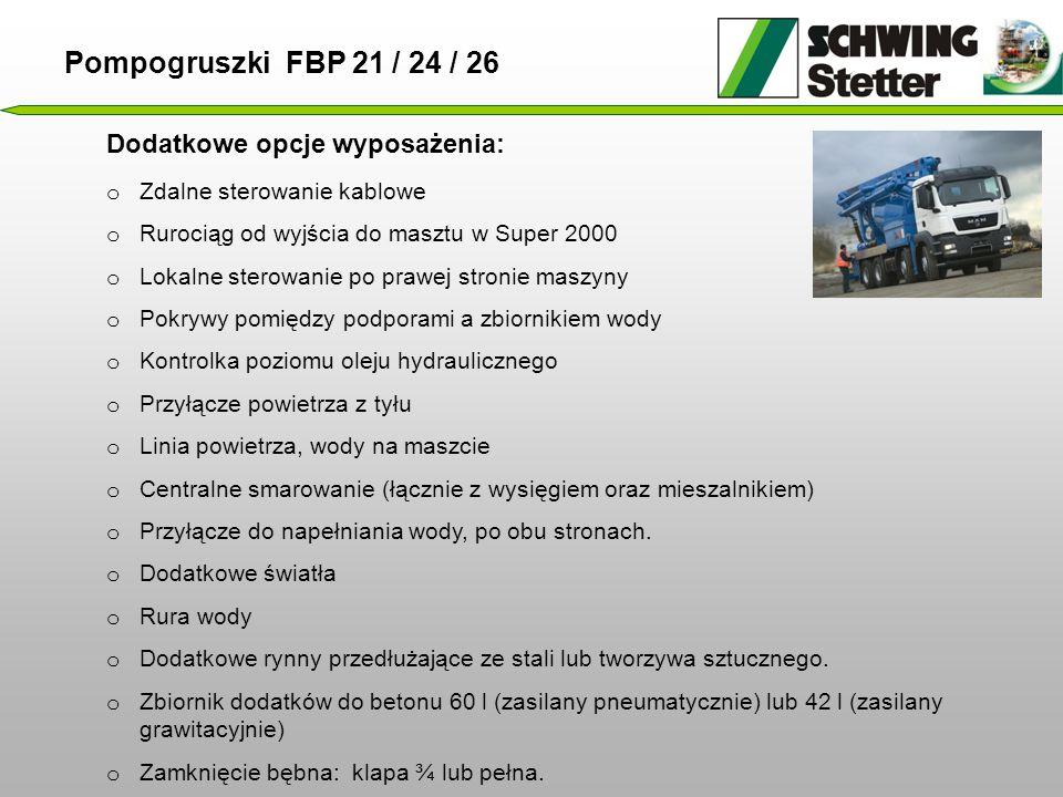 Pompogruszki FBP 21 / 24 / 26 Dodatkowe opcje wyposażenia: