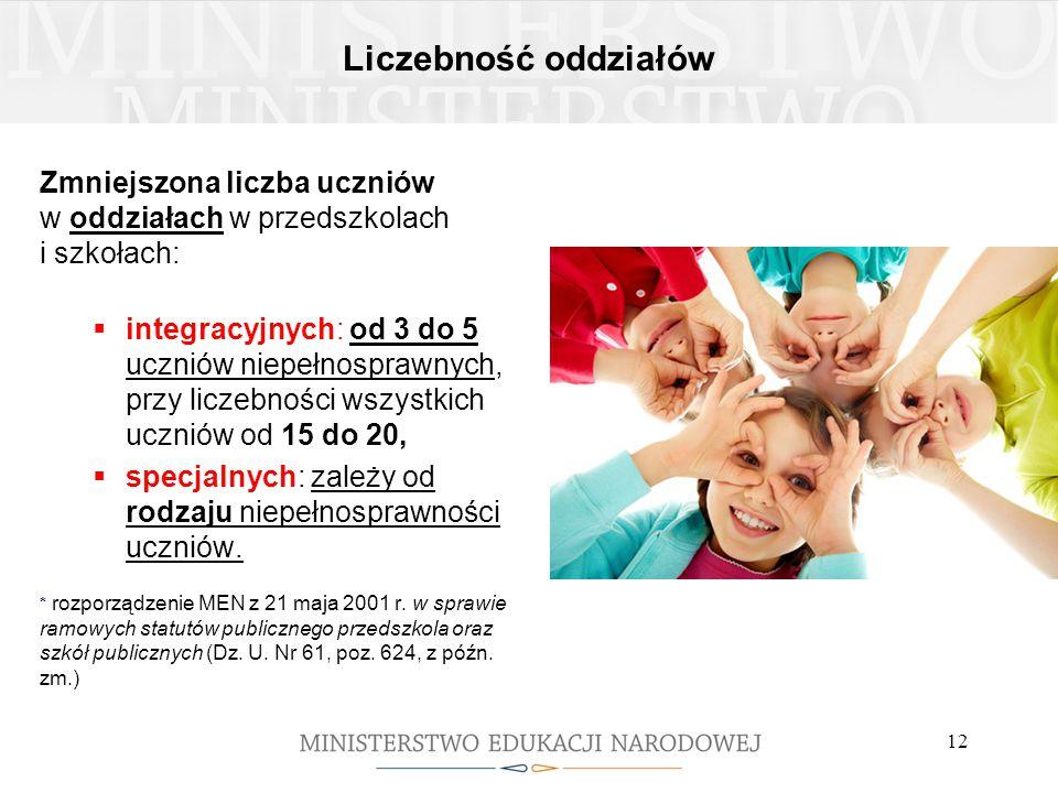 Liczebność oddziałów Zmniejszona liczba uczniów w oddziałach w przedszkolach i szkołach: