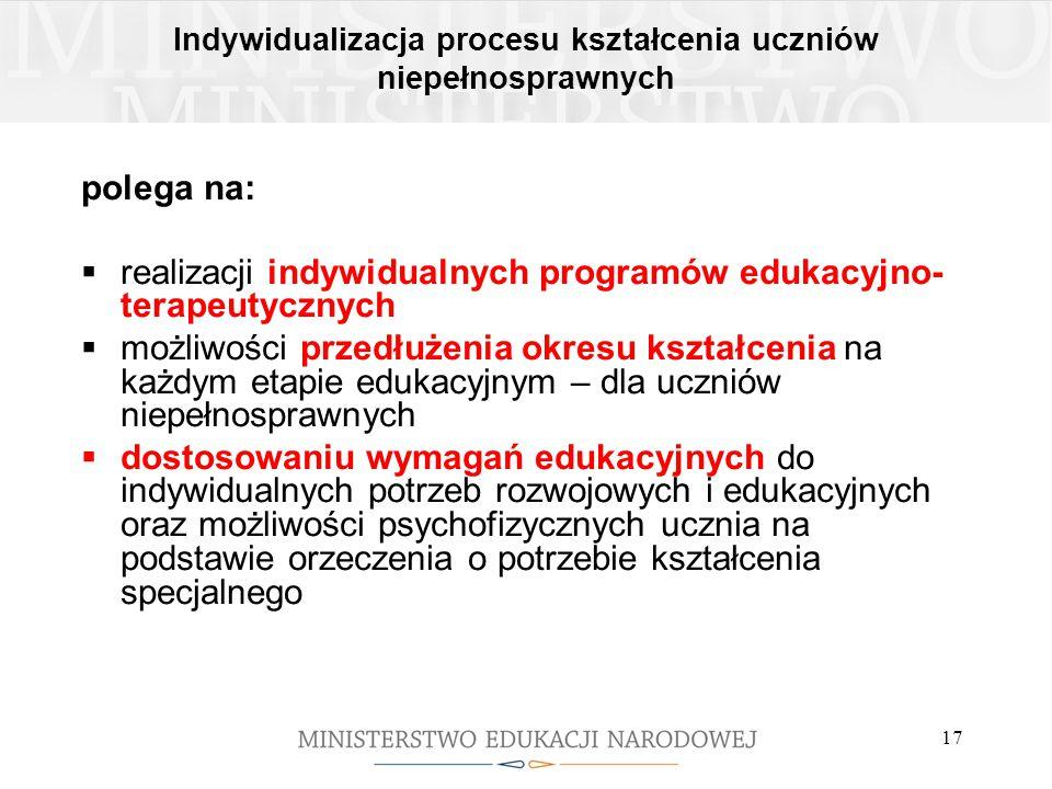 Indywidualizacja procesu kształcenia uczniów niepełnosprawnych