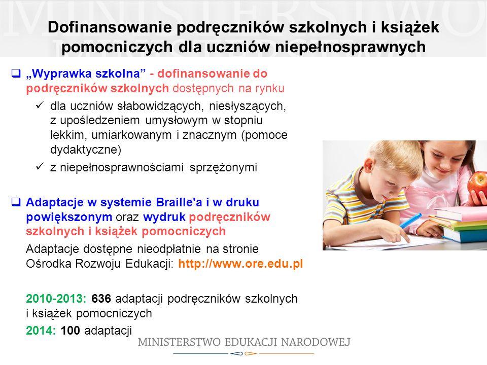 Dofinansowanie podręczników szkolnych i książek pomocniczych dla uczniów niepełnosprawnych