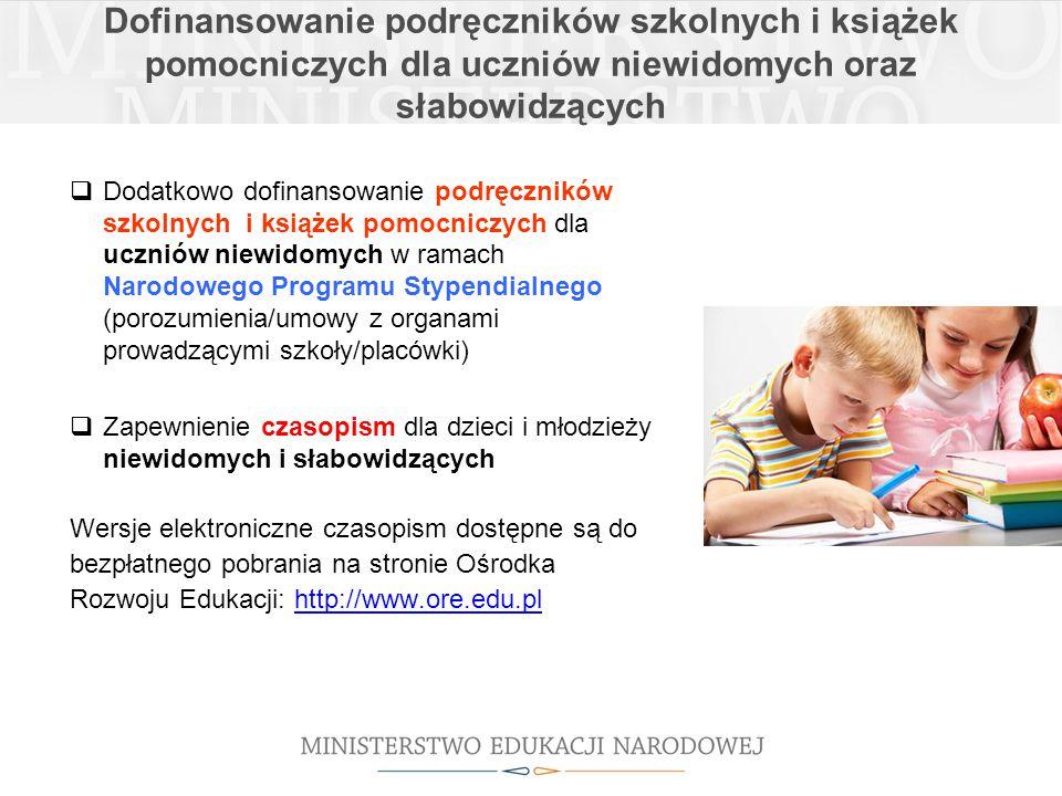 Dofinansowanie podręczników szkolnych i książek pomocniczych dla uczniów niewidomych oraz słabowidzących