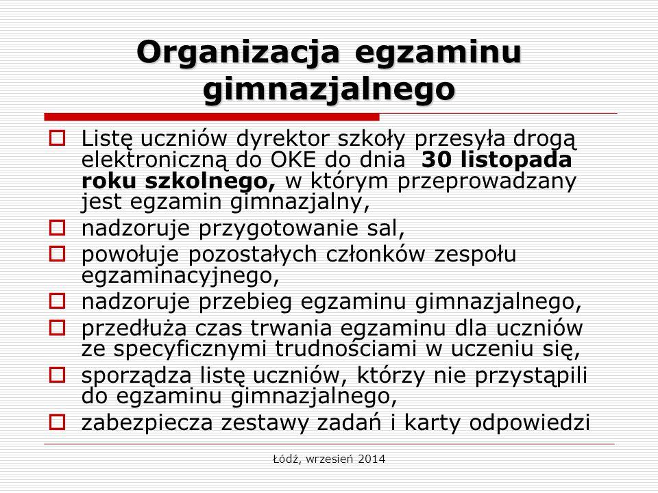 Organizacja egzaminu gimnazjalnego