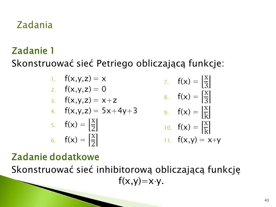 Zadanie 1 Skonstruować sieć Petriego obliczającą funkcje: