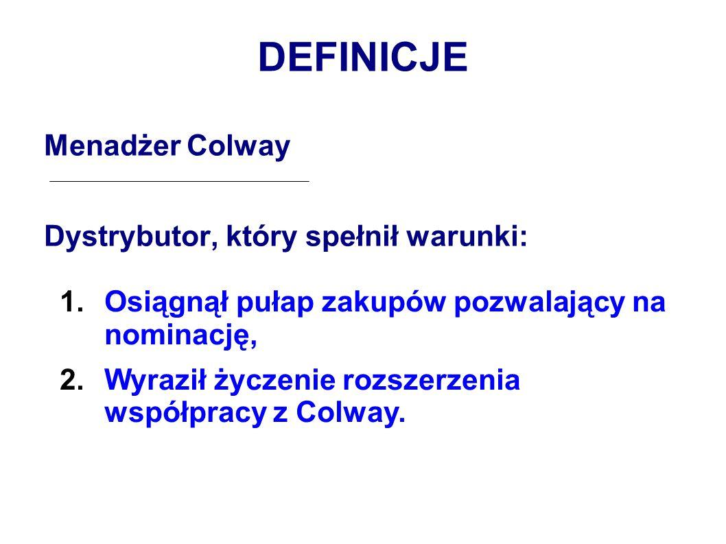 DEFINICJE Menadżer Colway Dystrybutor, który spełnił warunki: