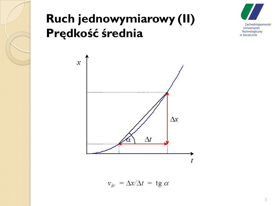 Ruch jednowymiarowy (II) Prędkość średnia