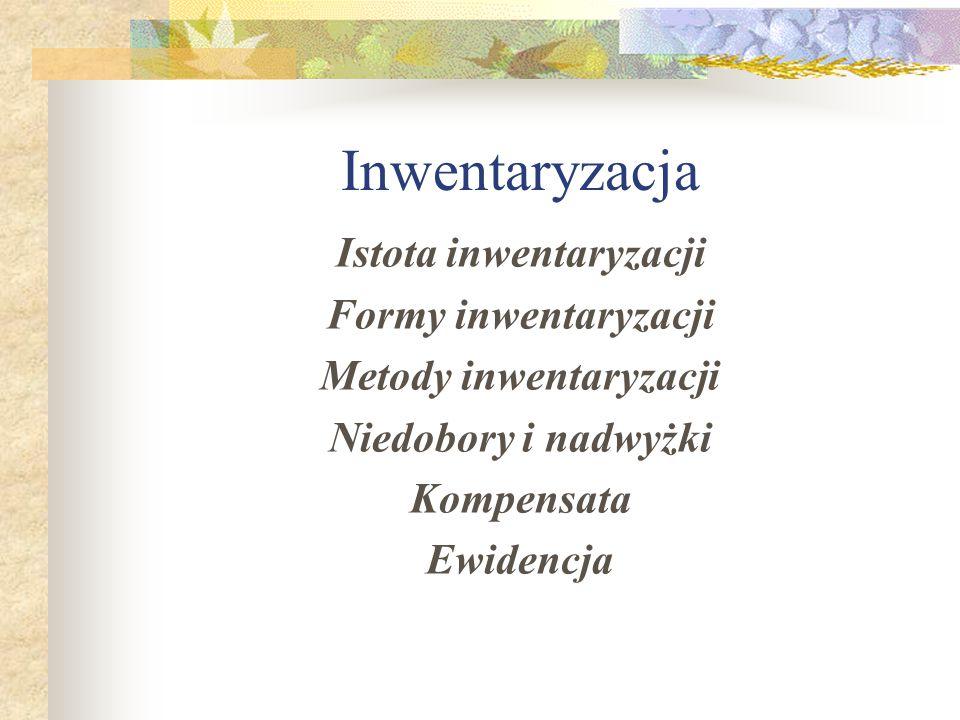 Istota inwentaryzacji Metody inwentaryzacji