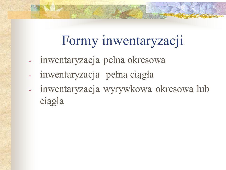 Formy inwentaryzacji inwentaryzacja pełna okresowa