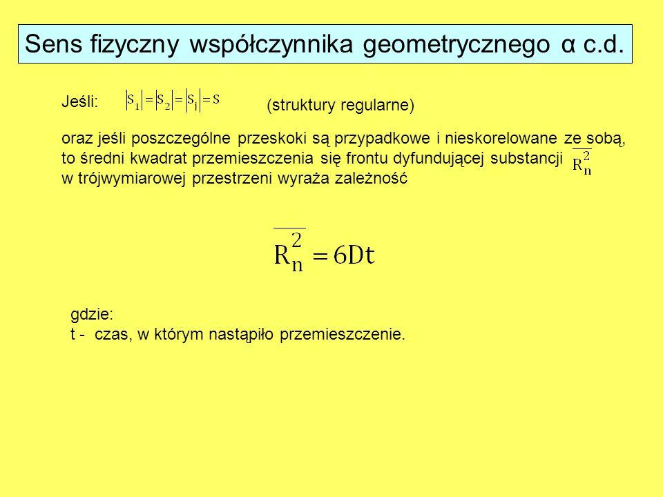 Sens fizyczny współczynnika geometrycznego α c.d.