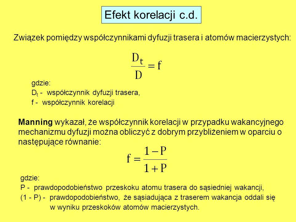 Efekt korelacji c.d. Związek pomiędzy współczynnikami dyfuzji trasera i atomów macierzystych: gdzie: