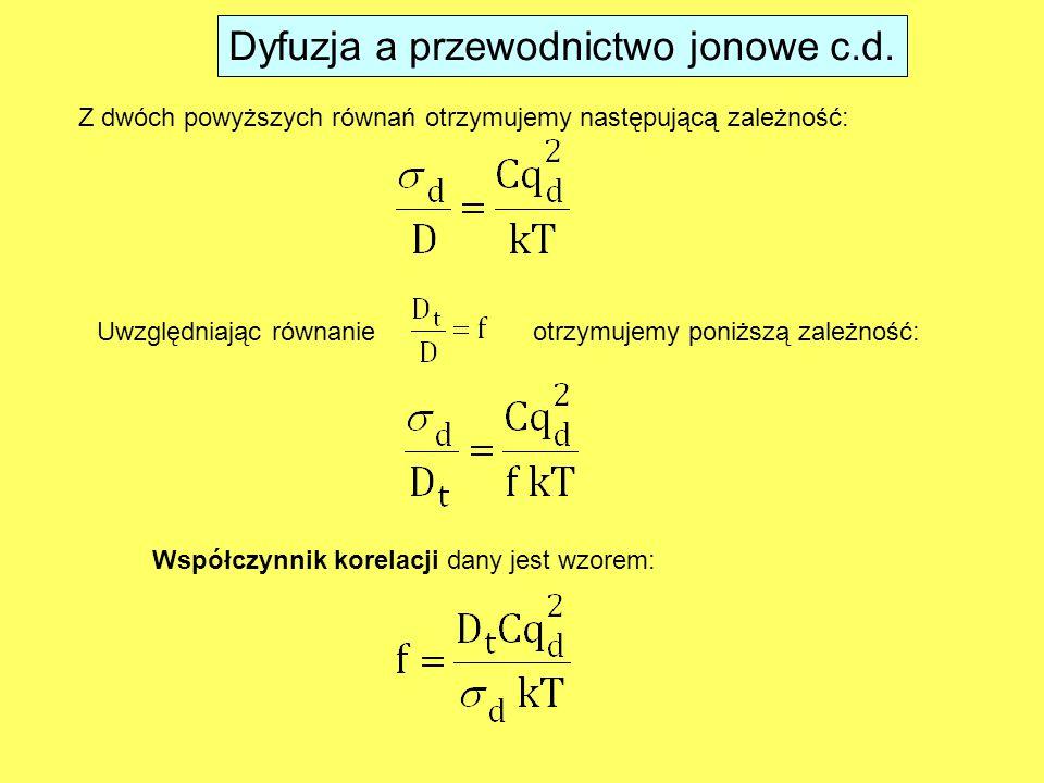 Dyfuzja a przewodnictwo jonowe c.d.