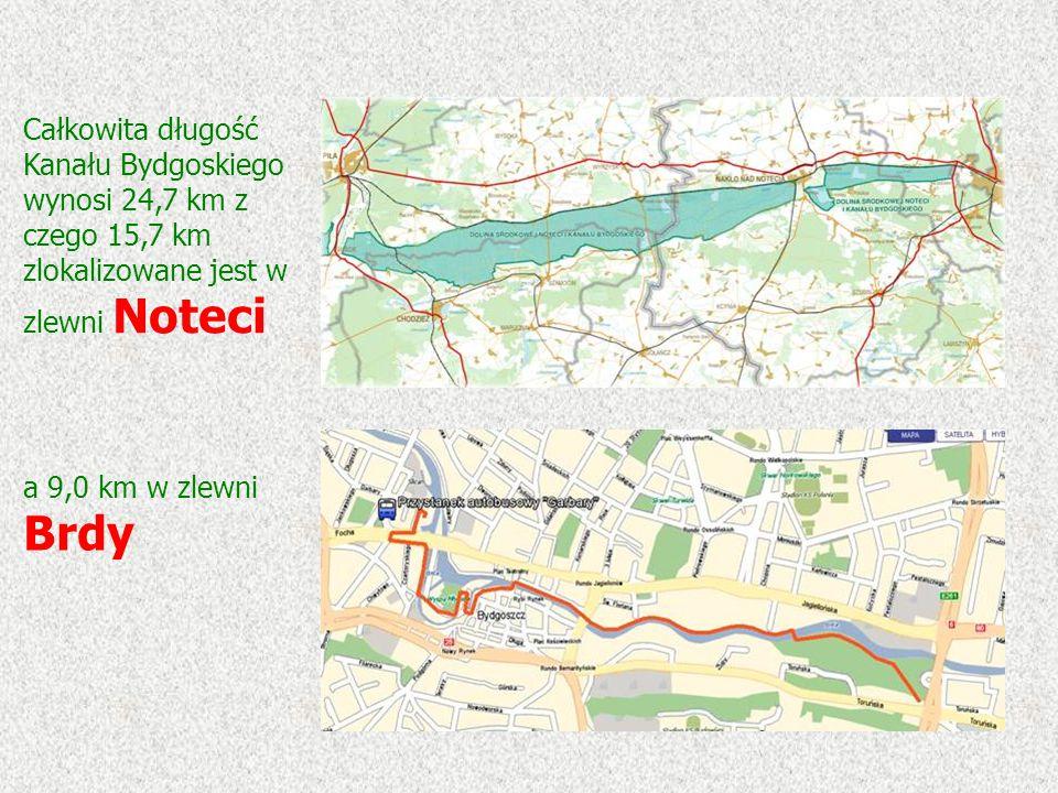 Całkowita długość Kanału Bydgoskiego wynosi 24,7 km z czego 15,7 km zlokalizowane jest w zlewni Noteci