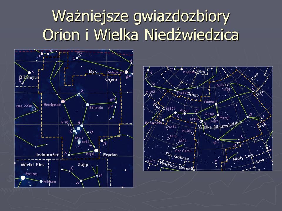 Ważniejsze gwiazdozbiory Orion i Wielka Niedźwiedzica