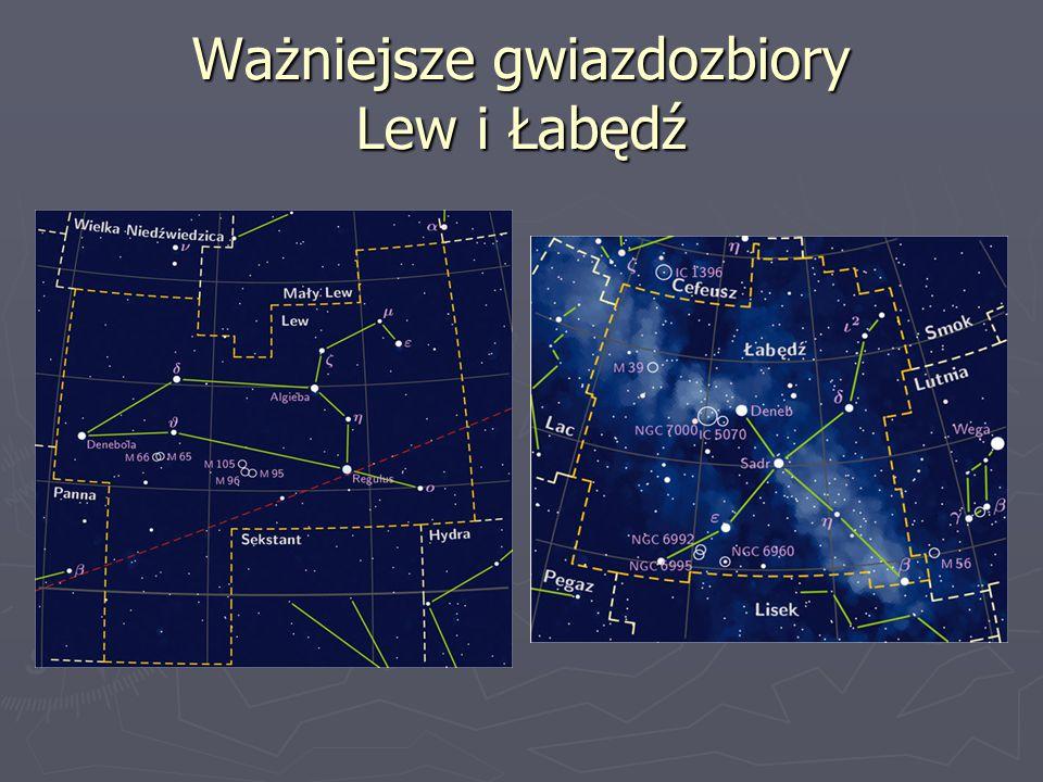 Ważniejsze gwiazdozbiory Lew i Łabędź