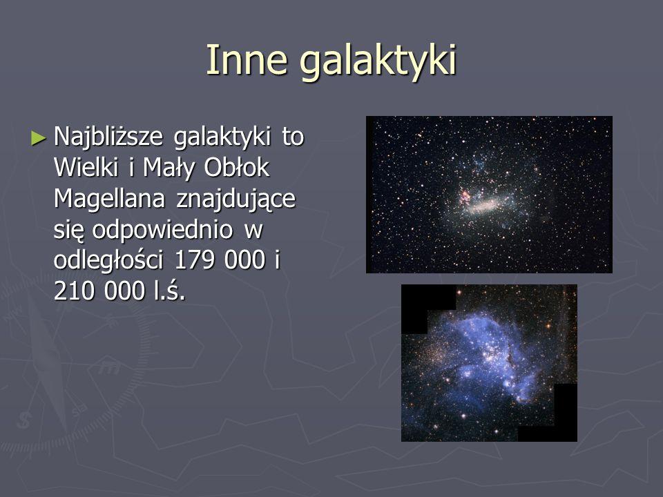 Inne galaktyki Najbliższe galaktyki to Wielki i Mały Obłok Magellana znajdujące się odpowiednio w odległości 179 000 i 210 000 l.ś.