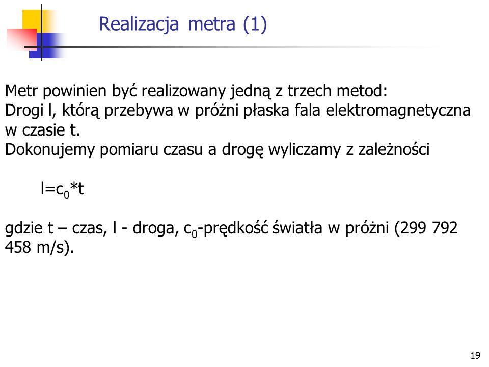 Realizacja metra (1) Metr powinien być realizowany jedną z trzech metod: Drogi l, którą przebywa w próżni płaska fala elektromagnetyczna w czasie t.