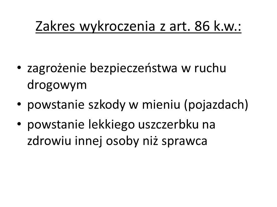 Zakres wykroczenia z art. 86 k.w.: