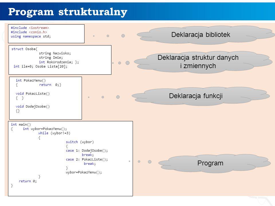Deklaracja struktur danych i zmiennych