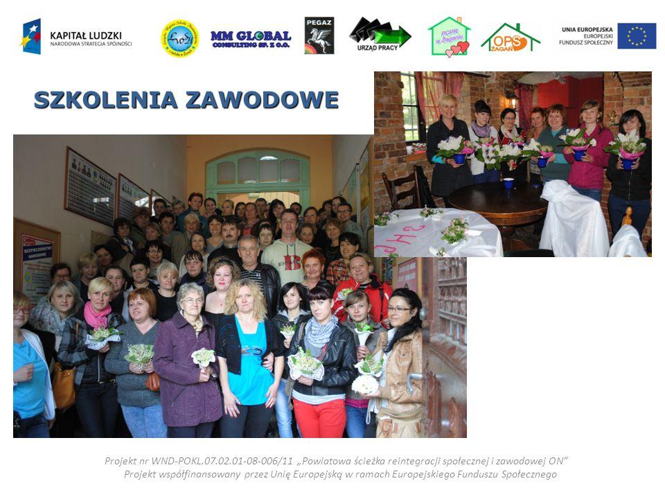 """SZKOLENIA ZAWODOWE Projekt nr WND-POKL.07.02.01-08-006/11 """"Powiatowa ścieżka reintegracji społecznej i zawodowej ON"""