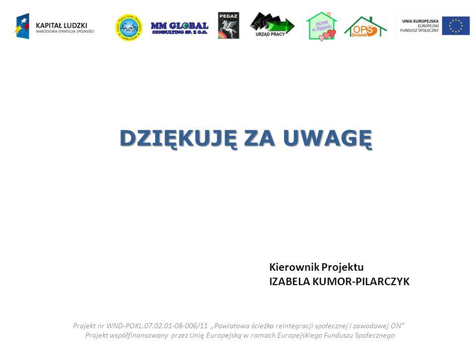 DZIĘKUJĘ ZA UWAGĘ Kierownik Projektu IZABELA KUMOR-PILARCZYK