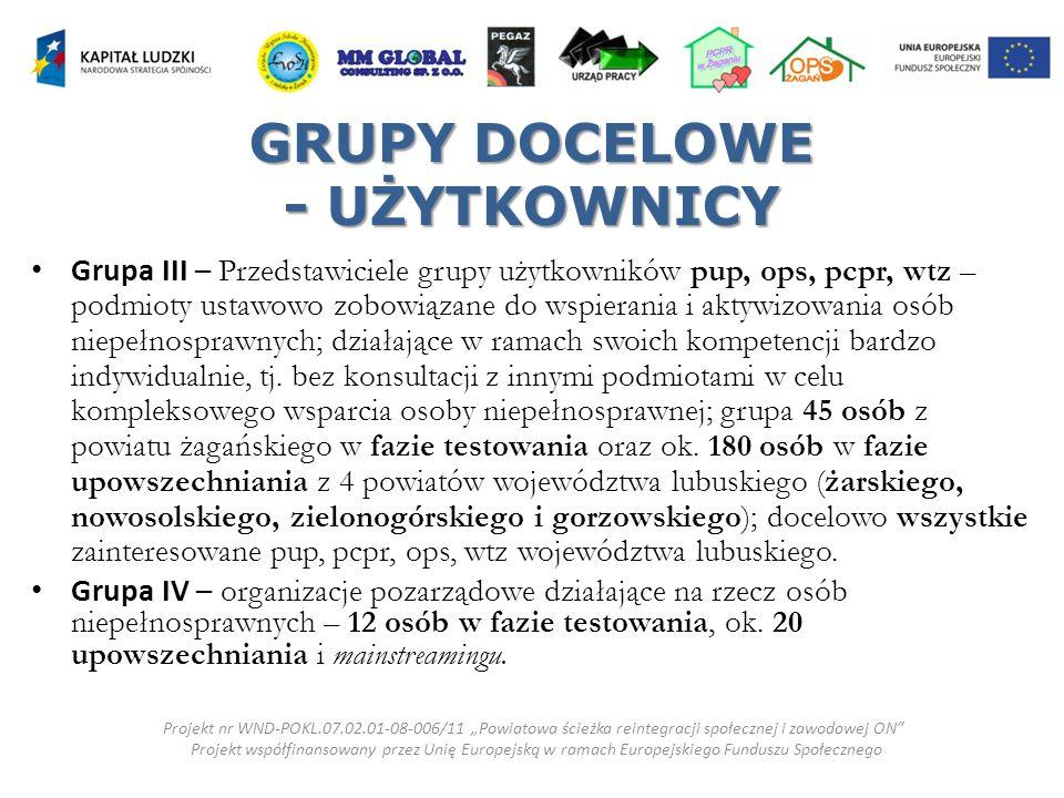 GRUPY DOCELOWE - UŻYTKOWNICY