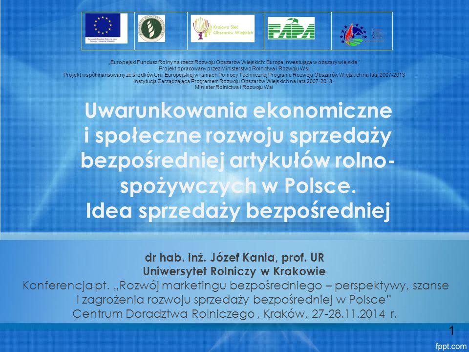 dr hab. inż. Józef Kania, prof. UR Uniwersytet Rolniczy w Krakowie