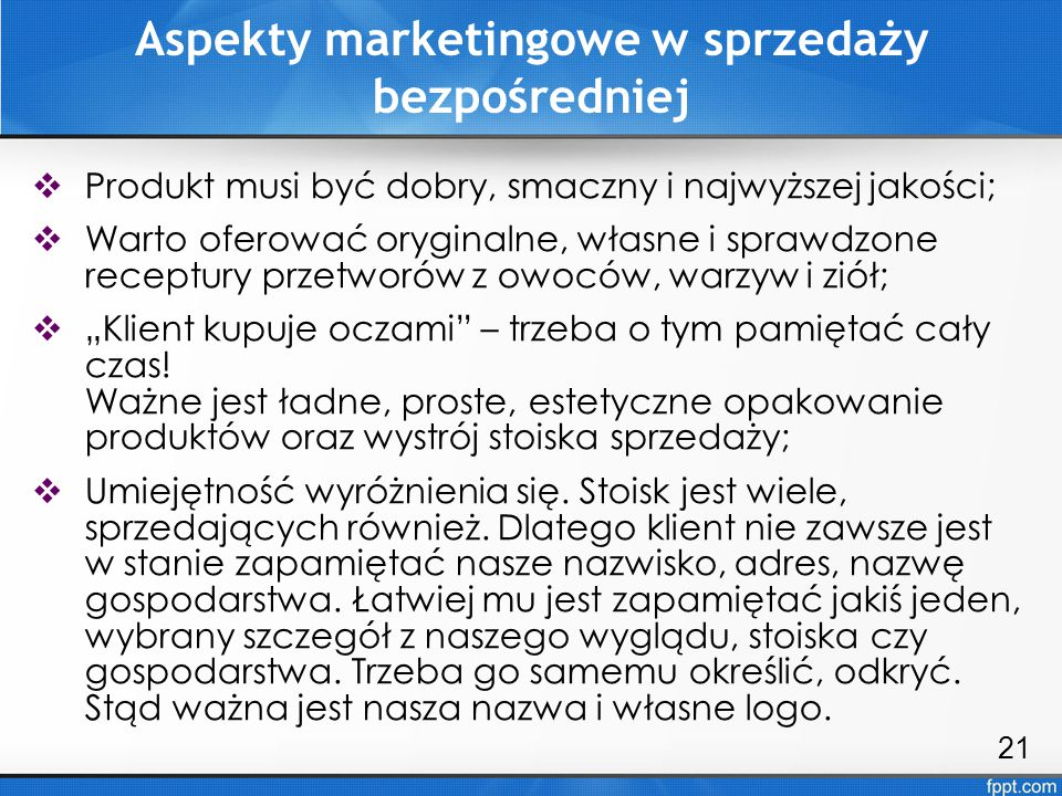 Aspekty marketingowe w sprzedaży bezpośredniej