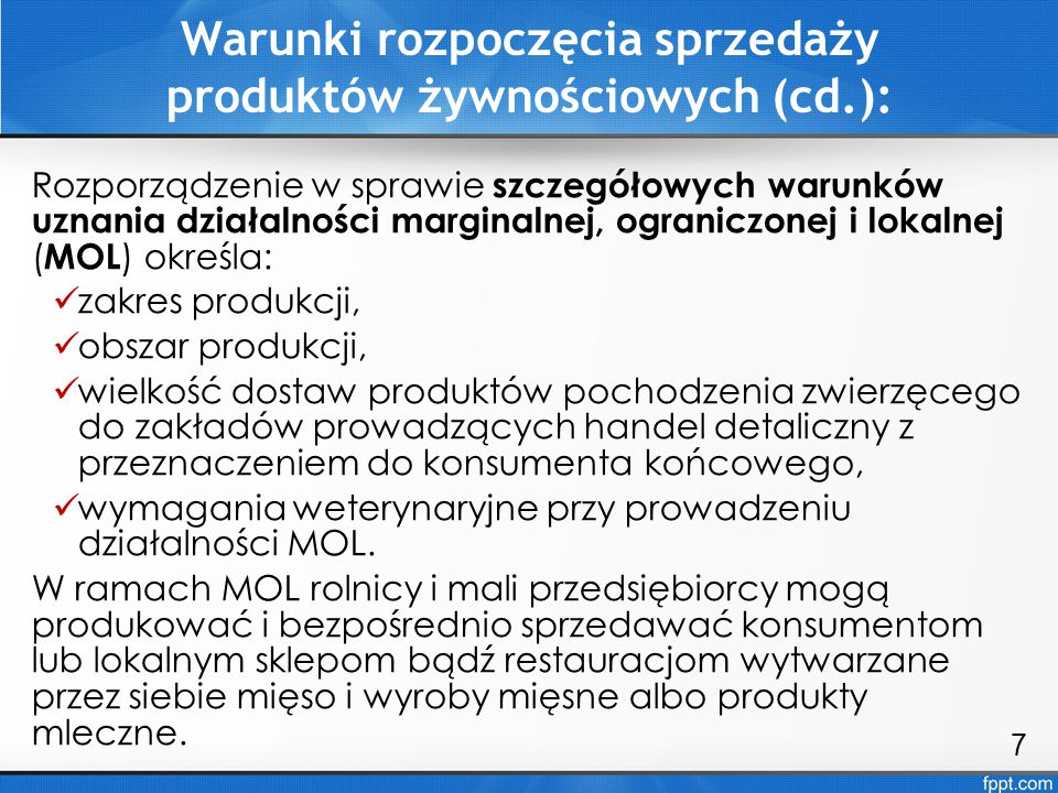 Warunki rozpoczęcia sprzedaży produktów żywnościowych (cd.):