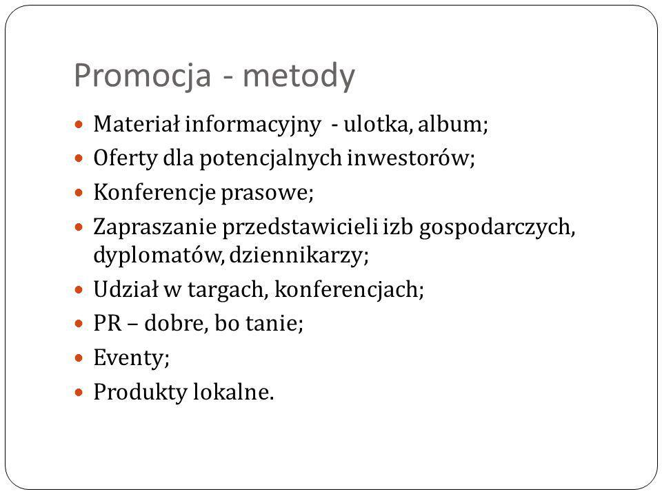 Promocja - metody Materiał informacyjny - ulotka, album;