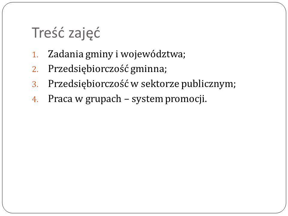 Treść zajęć Zadania gminy i województwa; Przedsiębiorczość gminna;