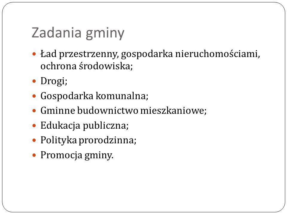 Zadania gminy Ład przestrzenny, gospodarka nieruchomościami, ochrona środowiska; Drogi; Gospodarka komunalna;