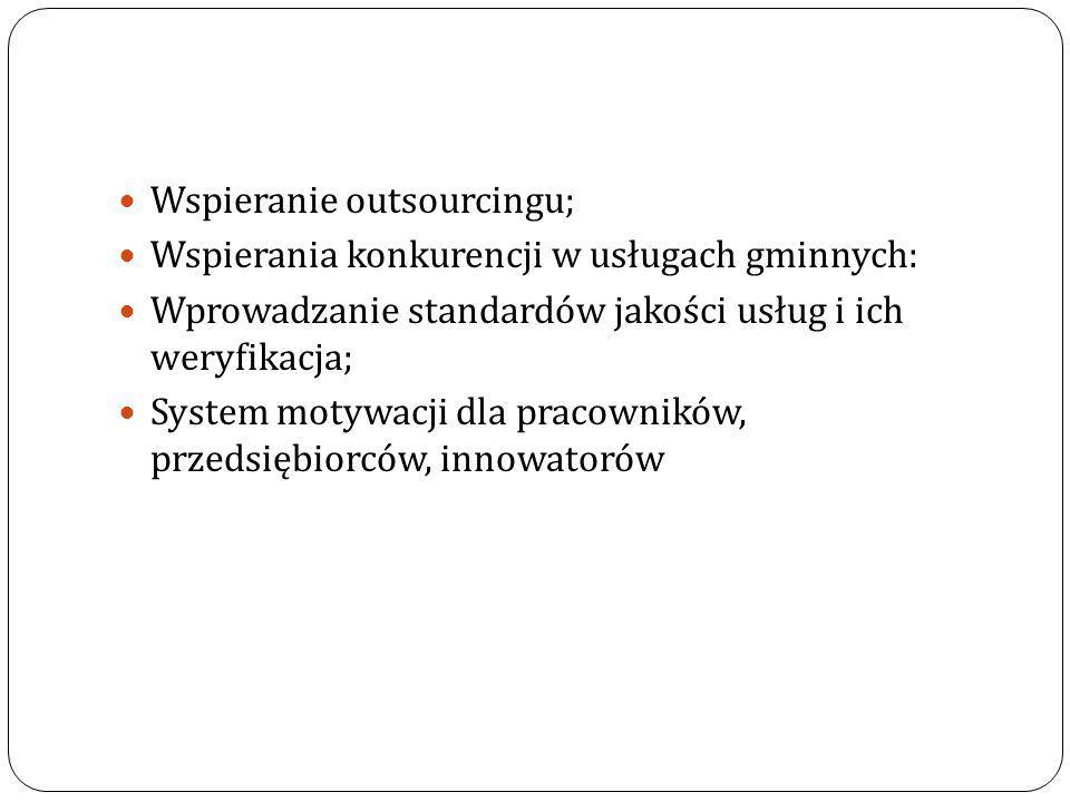 Wspieranie outsourcingu; Wspierania konkurencji w usługach gminnych: