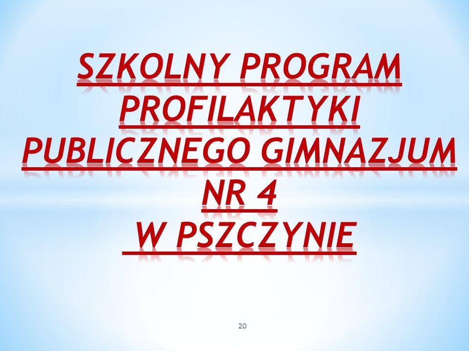 SZKOLNY PROGRAM PROFILAKTYKI PUBLICZNEGO GIMNAZJUM NR 4 W PSZCZYNIE