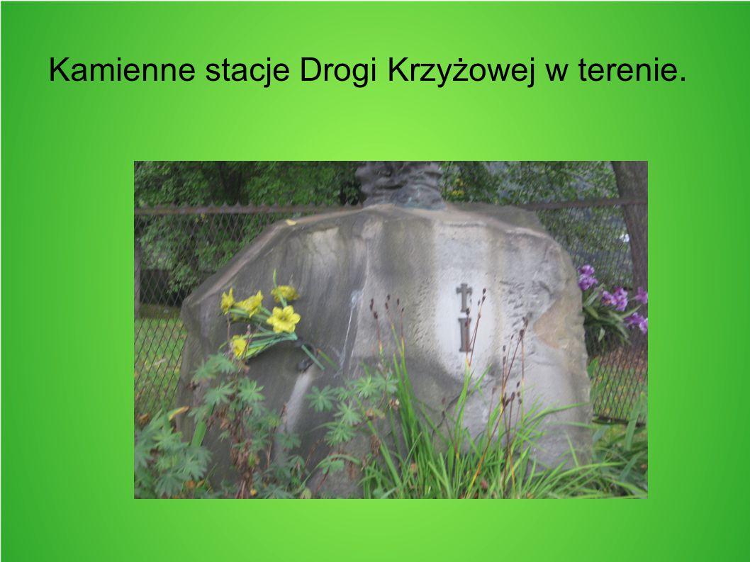 Kamienne stacje Drogi Krzyżowej w terenie.