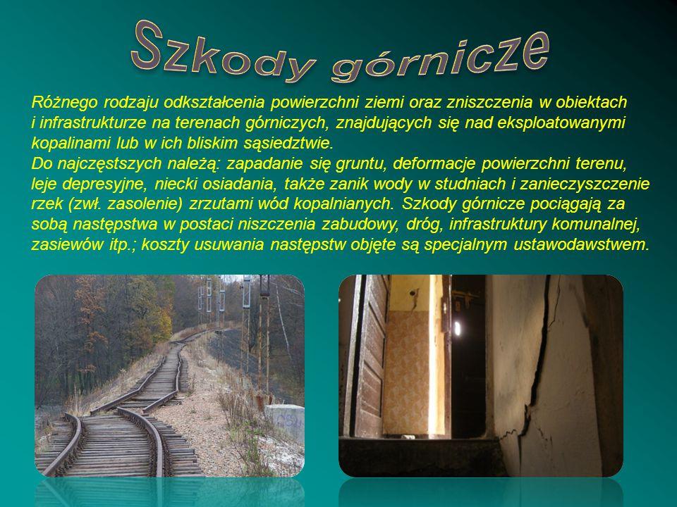 Szkody górnicze Różnego rodzaju odkształcenia powierzchni ziemi oraz zniszczenia w obiektach.