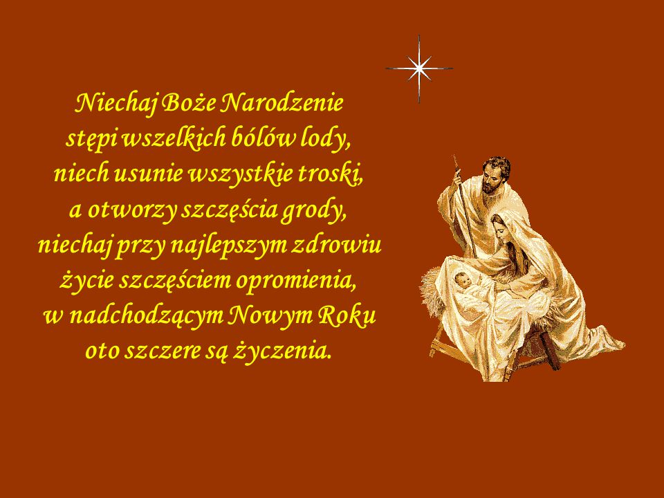 Niechaj Boże Narodzenie stępi wszelkich bólów lody,