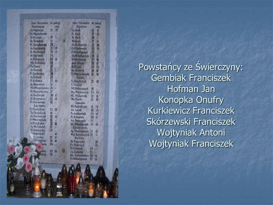 Powstańcy ze Świerczyny: Gembiak Franciszek Hofman Jan Konopka Onufry Kurkiewicz Franciszek Skórzewski Franciszek Wojtyniak Antoni Wojtyniak Franciszek