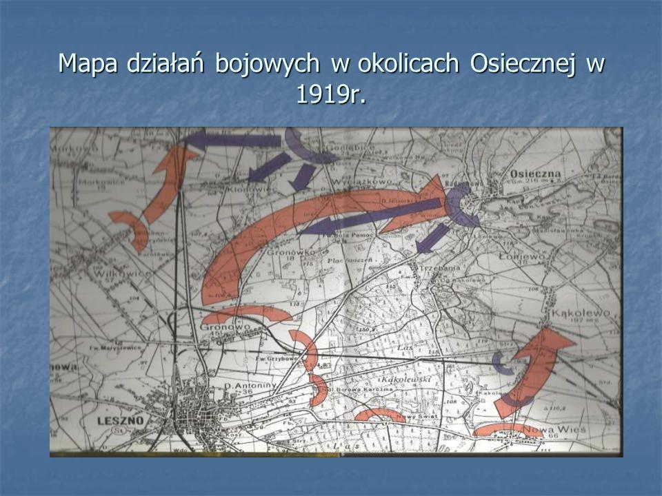 Mapa działań bojowych w okolicach Osiecznej w 1919r.